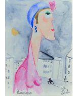 Anna Àntola, La baronessa, tecnica mista su carta, 25,5x35,5 cm