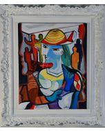Carlo Massimo Franchi, Omaggio a Picasso, olio su tela, 40x50 cm