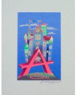 Meloniski da Villacidro, Piccola città surreale, serigrafia e collage ritoccata a mano, 25x20cm