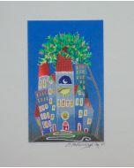 Meloniski da Villacidro, Piccolo borgo, serigrafia e collage ritoccata a mano, 20,5x26 cm
