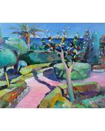 Claudio Malacarne, Giardino a primavera, olio su tela, 100x120 cm