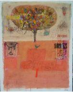 Domenico Gabbia, Senza titolo, acrilico, oilbar e fusaggine, 100x80 cm