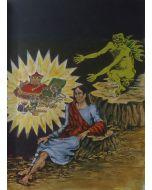 "Giuseppe Migneco, Gesù tentato dal diavolo, tratta da ""Evangeliario"", litografia, 50x39 cm, 1987"