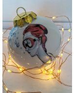 Blub, Modigliani, pallina di Natale in porcellana, h 7,5 cm