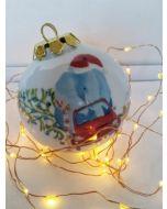 Maxacolori (Massimiliano Milano), Chi non sale è un elefante, pallina di Natale in porcellana, h 7,5 cm