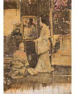 Enrico Pambianchi, Geisha allo specchio,  collage, olio, acrilico, matite, gessetti, resine su cartone d'arazzo, 135x177 cm