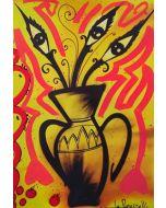 La Pupazza, Vaso occhi, grafica su PVC, 31X47 cm