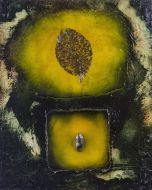 Enzo Rizzo, Genesi 1, olio e resina su tavola, 70x56 cm