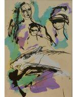 Ernesto Treccani, Maternità in rosa, litografia a colori, 70x50 cm