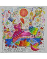 Francesco Musante, Il tramonto questa sera guarderà le nostre mani allacciate come trecce, serigrafia materica, 33x33 cm