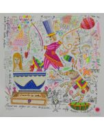Francesco Musante, Pesco un sogno in una tazzina di caffè, serigrafia materica, 33x33 cm