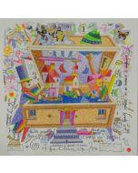 Francesco Musante, Nella cassetta della fantasia trovi il paese dei sogni, serigrafia materica, 33x33 cm