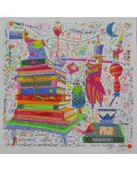 Francesco Musante, I libri si aprono, le pagine sorridono, serigrafia materica, 33x33 cm