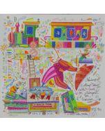 Francesco Musante, Prenderò l'ultimo treno della sera, serigrafia materica, 33x33 cm