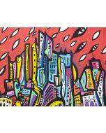 La Pupazza, Pioggia di occhi su New York, acrilico e spray su carta, 50x70 cm
