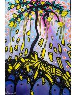 La Pupazza, L'albero dei limoni patatine fritte, acrilico e spray su carta, 50x70 cm