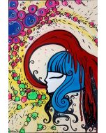 La Pupazza, Il vino sulla donna, acrilico e spray su carta, 50x70 cm