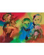 Ernesto Treccani, La famiglia di suonatori, serigrafia, 50x70 cm