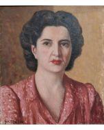 Giovanni Malesci, Ritratto di donna, olio su tela, 40x45 cm