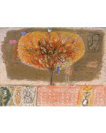 Domenico Gabbia, Fantasia fanciullesca 5, acrilico, oilbar e fusaggine, 60x45 cm