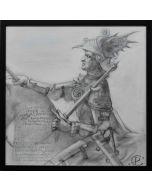 Giancarlo Prandelli, Cavaliere a cavallo, matita su cartoncino, 40x40cm (D275)