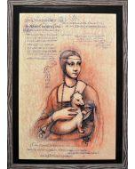 Giancarlo Prandelli,Dama con l'ermellino e codice P, inchiostro su cartoncino, 45x30cm (D225)
