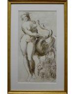 Giancarlo Prandelli, Leda ed il cigno, matita su cartoncino, 18x32.5cm (D230)