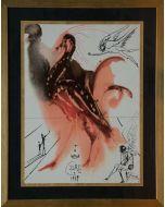 Salvador Dalì, Creazione degli angeli, composizione policromatica su foglia oro, 30x40 cm, 1979