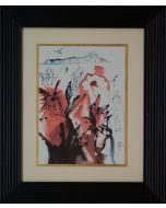 Salvador Dalì, Paradiso Tropicale, composizione policromatica su foglia oro, 30x40 cm, 1979