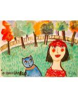 Anna Antola, Al parco Lambro, tecnica mista su carta, 28x38 cm