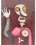 Enrico Baj, Amazzone, serigrafia a colori e collage, 67x84 cm, 1979