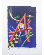 Meloniski da Villacidro, Amore Cosmico, serigrafia e collage ritoccata a mano, 47x35 cm
