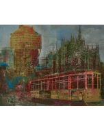 Loris di Falco, Andiamoci in tram, tecnica mista, 20x26 cm