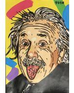 Andrew Tosh, Einstein, acrilico e smalto su carta, 33x48cm, 2020