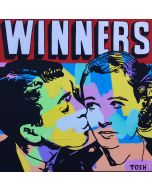 Andrew Tosh, Winners, tecnica mista su tela, 90x90 cm