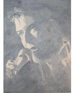 Oscar Morosini, Goodbye David, acquarello su carta,  52x37.5cm (con cornice)