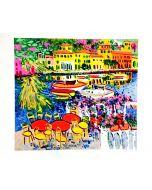 Athos Faccincani, Salò con barche e fiori, serigrafia, 85x70 cm