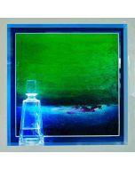 Andrea Morreale, L'atollo silente, olio su tavola, cristallo, 2 dl Blu Curaçao, illuminazione a led con controllo acustico, 63x63x15 cm,
