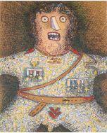 Enrico Baj, Du soldat, litografia a colori tratta dal libro d'artista omonimo, 69x49,5 cm