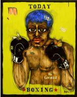 Yux, Today Boxing, acrilico, pastelli a cera, smalto e manifesti su tela, 80x100 cm