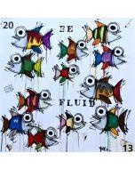 Yux, Be Fluid, acrilico, pastelli a cera e manifesti su tela, 90x90 cm, 2014