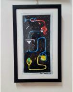 La Pupazza, Bicchiere magico, acrilico e spray su carta, 28x44 cm (con cornice)