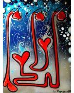 La Pupazza, Brocche di vino cuore, acrilico e spray su carta, 50x70 cm