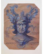 Giancarlo Prandelli, Cavaliere con armatura, inchiostro su cartoncino 32.5x23.5cm