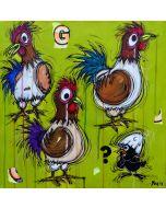 Yux, Chickens ?, acrilico, pastelli a cera, smalto e manifesti su tela, 50x50 cm