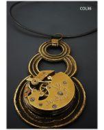 Simona Della Bella, collana 3 Rings, rame e meccanismo orologio antico