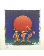 Meloniski da Villacidro, Concertino per un plenilunio, serigrafia e collage ritoccata a mano, 50x50 cm