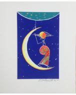 Meloniski da Villacidro, Concertino sulla Luna, serigrafia e collage ritoccata a mano, 20x25 cm