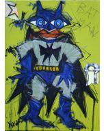 Yux, Bat chi e, acrilico, pastelli a cera e manifesti su tela, 30x40 cm