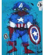 Yux, Capitan Obamerica, acrilico, pastelli a cera e manifesti su tela, 30x40 cm